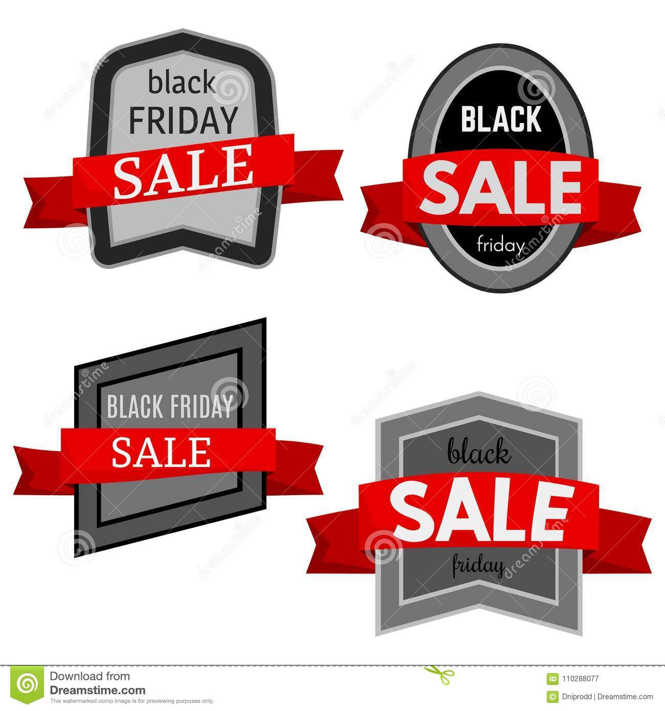 set of four black friday sale badges with red ribbon on a white background stock vector. Black Bedroom Furniture Sets. Home Design Ideas