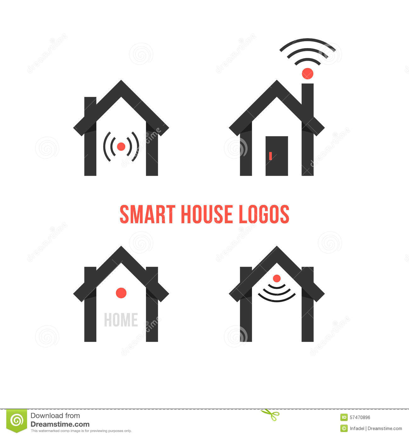 Set Of Four Black Smart House Logos Stock Vector Image
