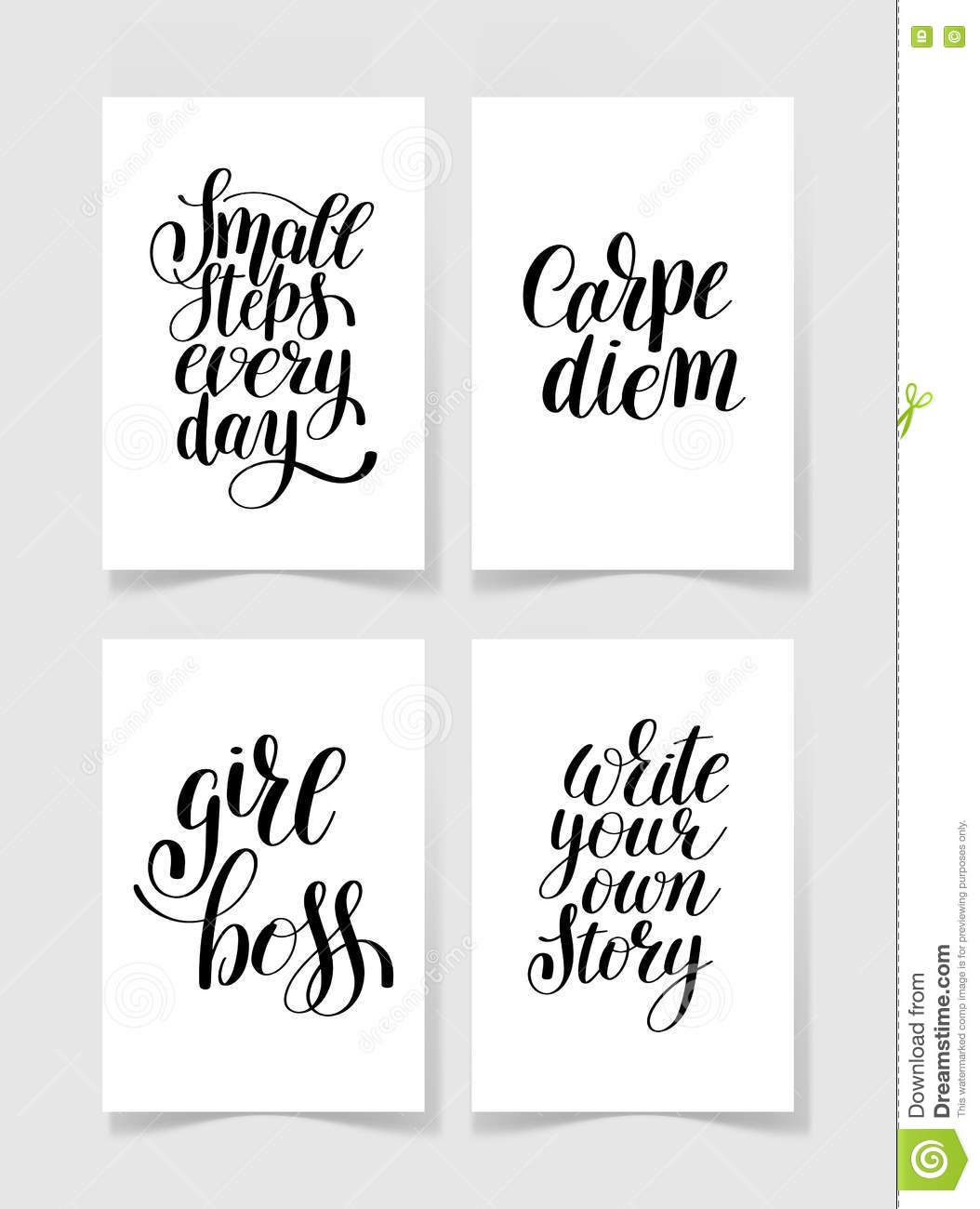 Set Of Four Black And White Handwritten Lettering Positive Quote