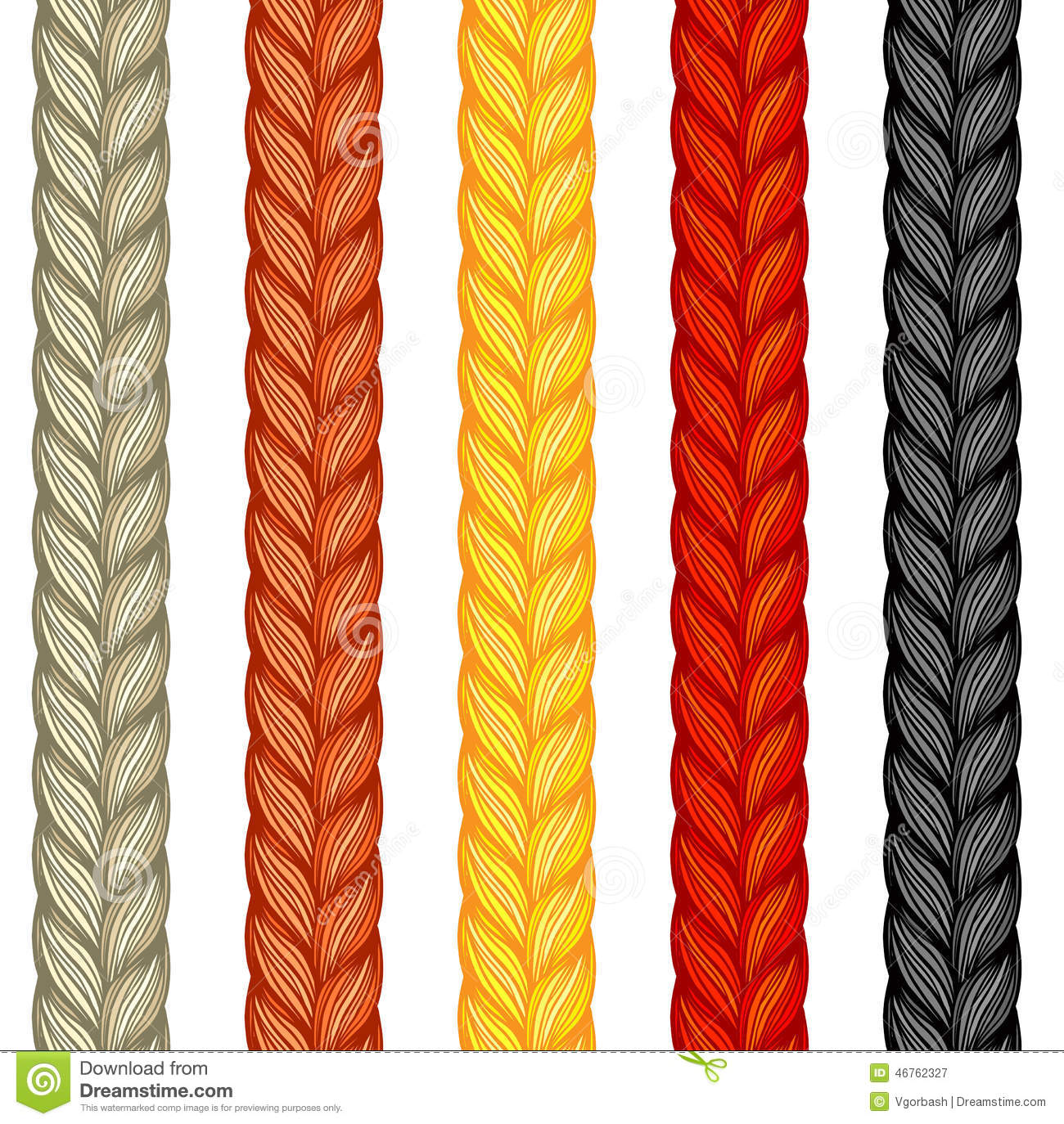 Set Of Four Braids Isolated On White Vector Illustration