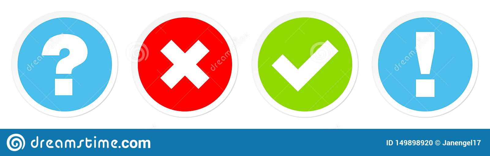 Set Of Four Buttons Question Checkmarks And Answer Blue Red Green