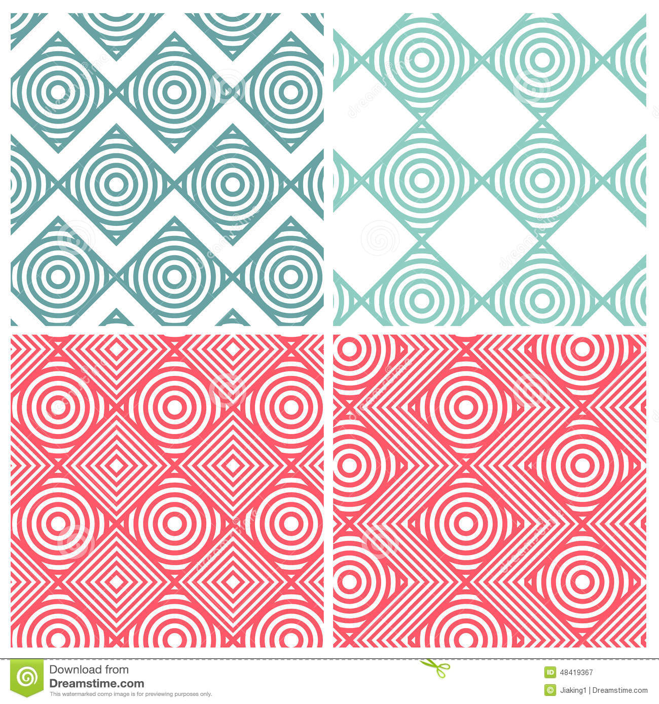 set of four circle combine square patterns stock vector