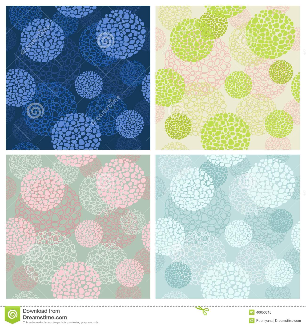 Set four color seamless backgrounds from abstract round forms
