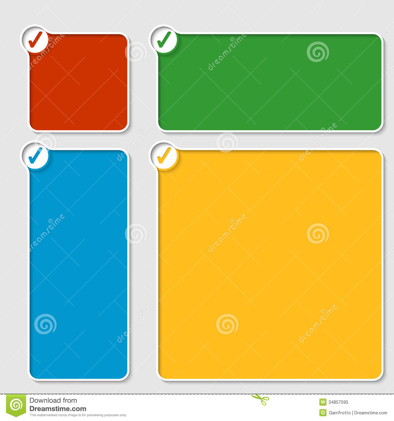 Set of four colored box stock vector. Illustration of ...