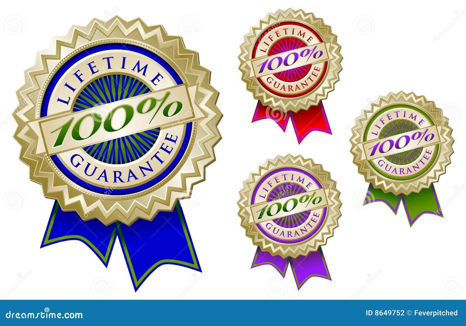 Set of Four Colorful 100  Lifetime Guarantee Emble
