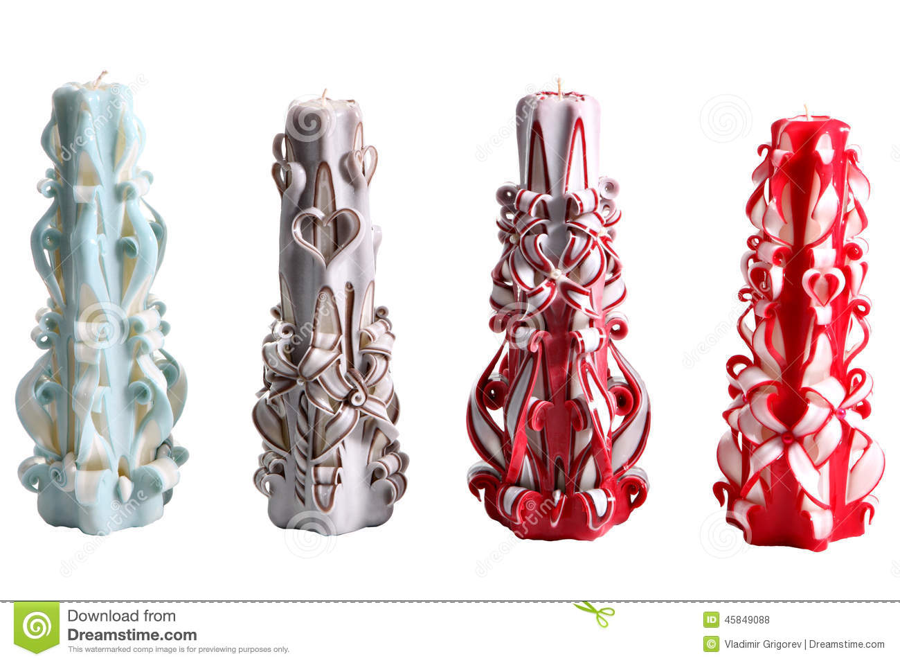 Set Of Four Colorful Wax Candles Handmade Carved, On White. Stock ...