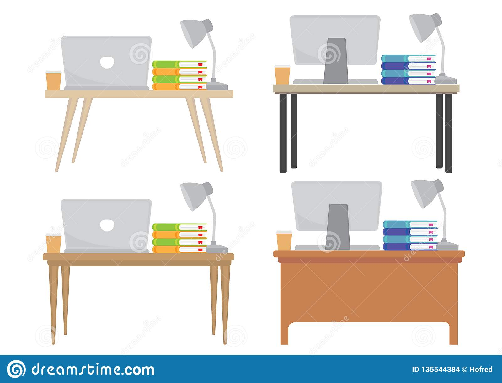 Wondrous A Set Of Four Different Modern Office Desk Table With Either Download Free Architecture Designs Ogrambritishbridgeorg