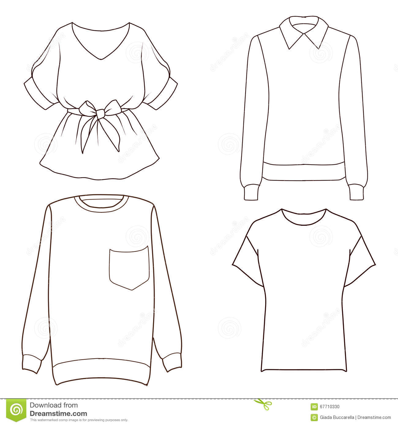 Set Of Four Different Tops Flat Fashion Sketch Template Stock