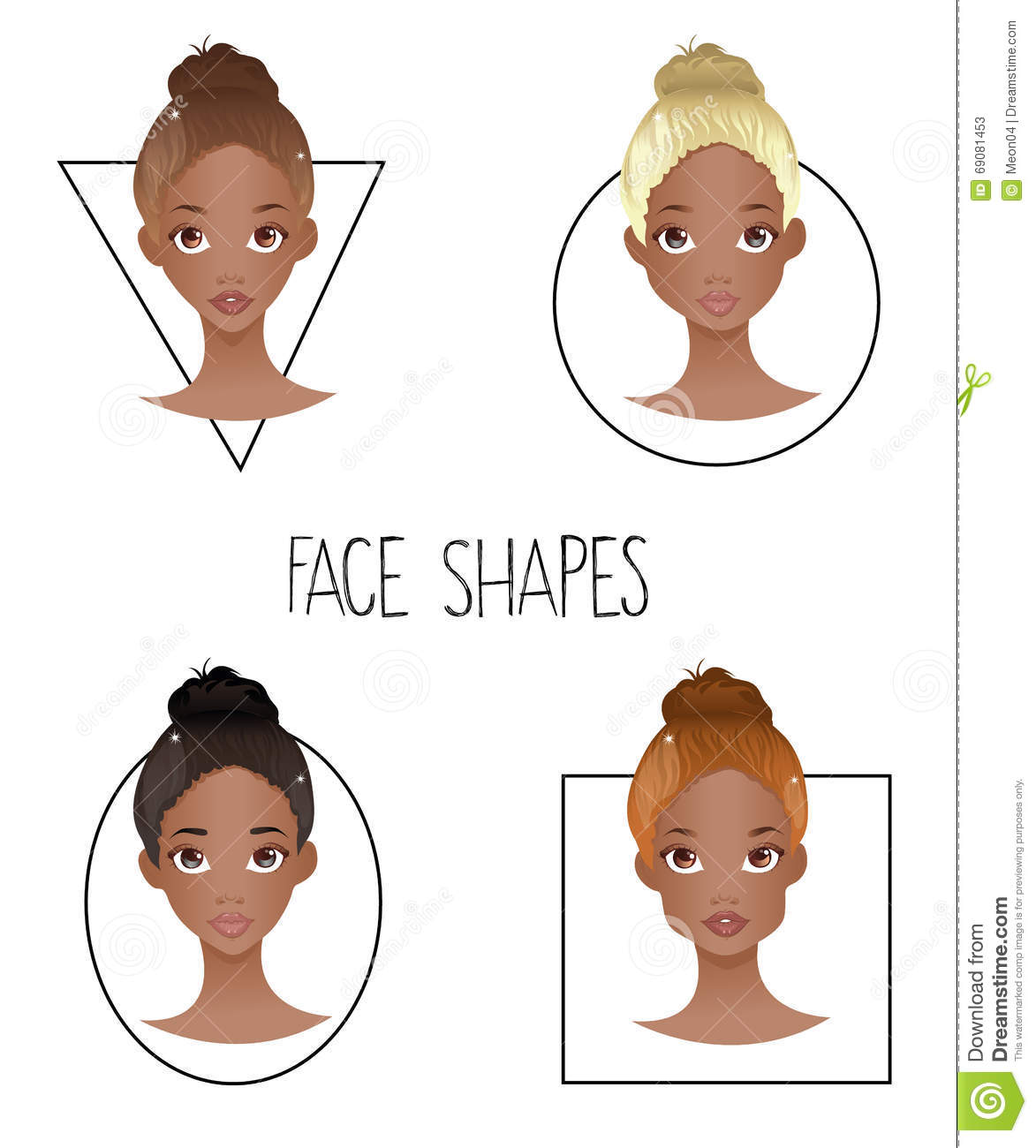 Superb Set Of Four Different Woman S Face Shapes African American Schematic Wiring Diagrams Amerangerunnerswayorg