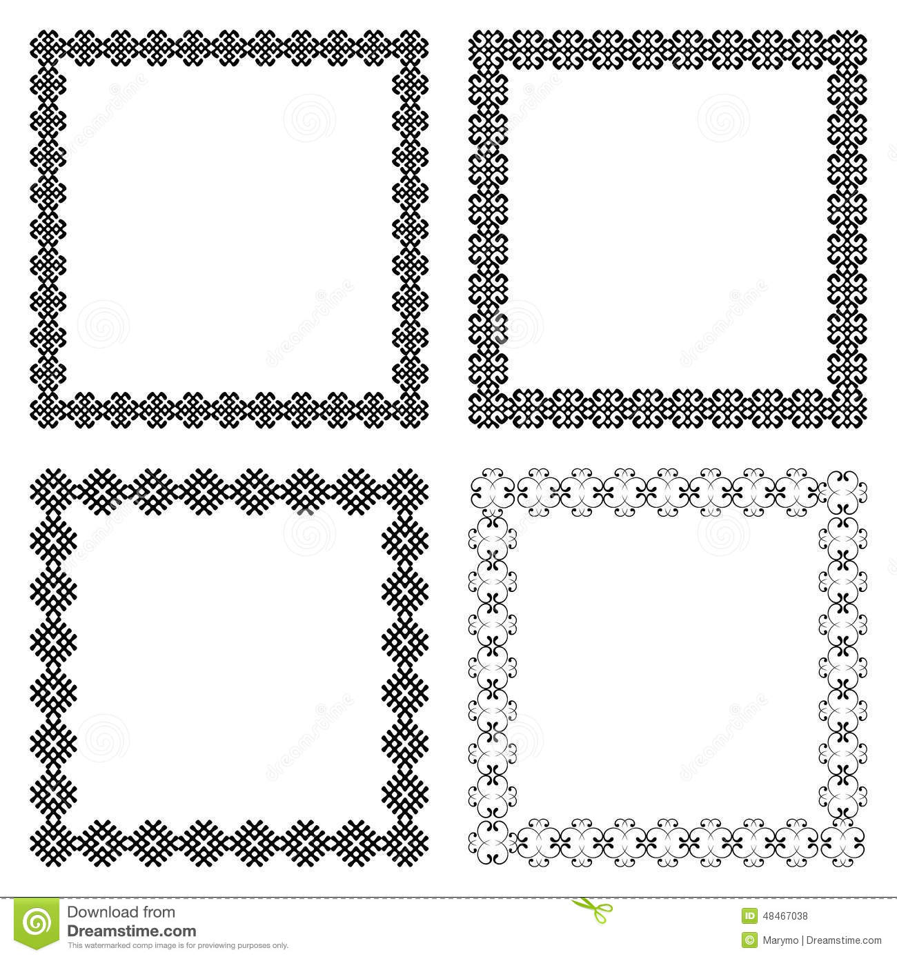 set of four ethnic square frames with the most popular borders royalty free stock photos