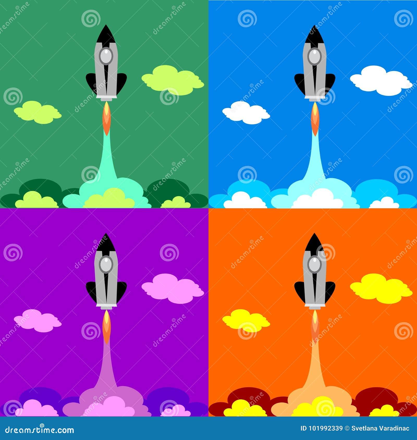 Set four flat Space Shuttle Rocket Icon