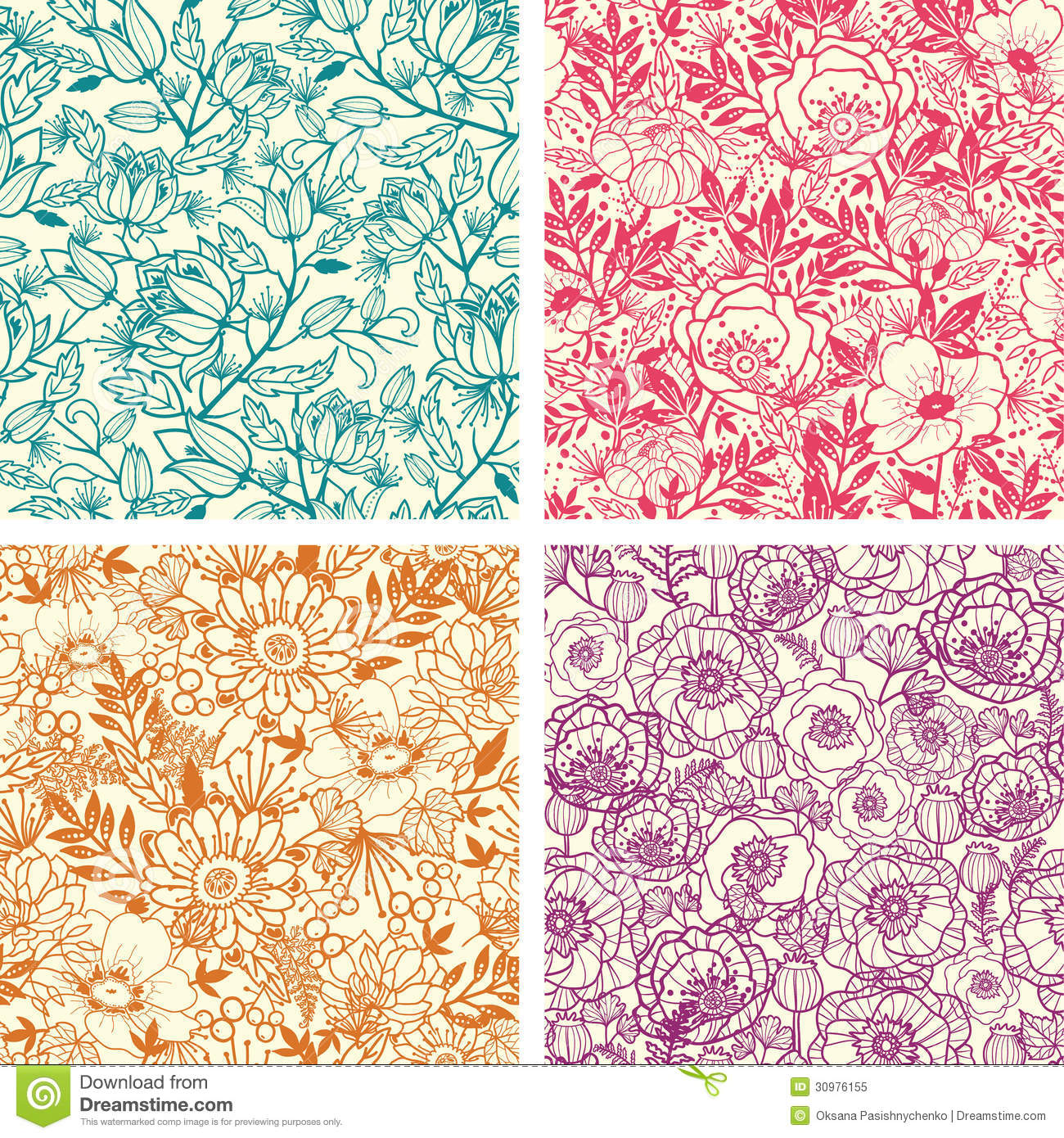 Abstract Flower Background With Decoration Elements For: Set Of Four Floral Line Art Seamless Pattern Stock Vector