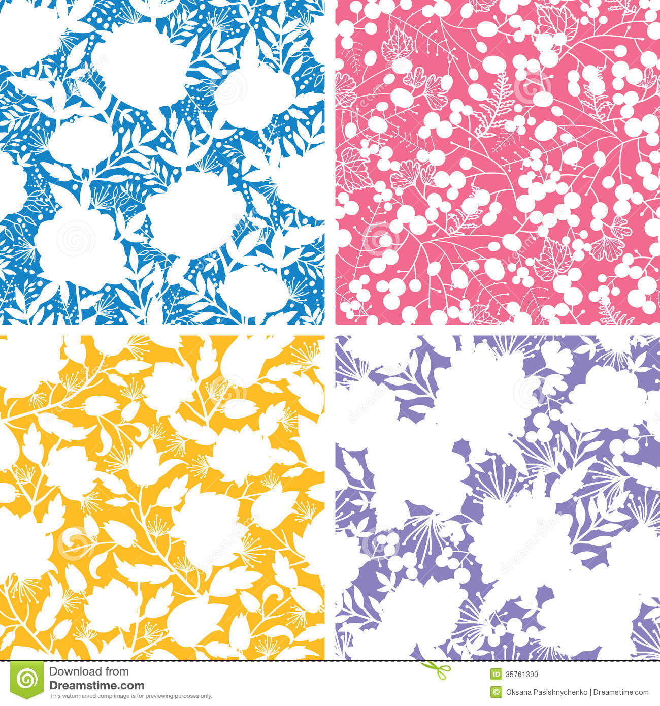 Set of four floral silhouettes seamless patterns