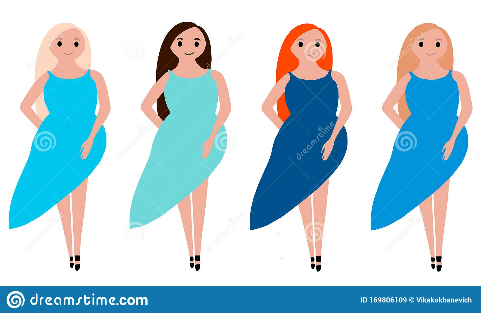 Set Of Four Girls With Different Hair Colors Stock Illustration Illustration Of Blue Dress 169806109