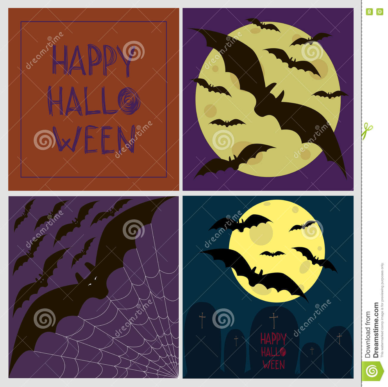 Set of four halloween greeting cards full moon party illustration set of four halloween greeting cards full moon party m4hsunfo