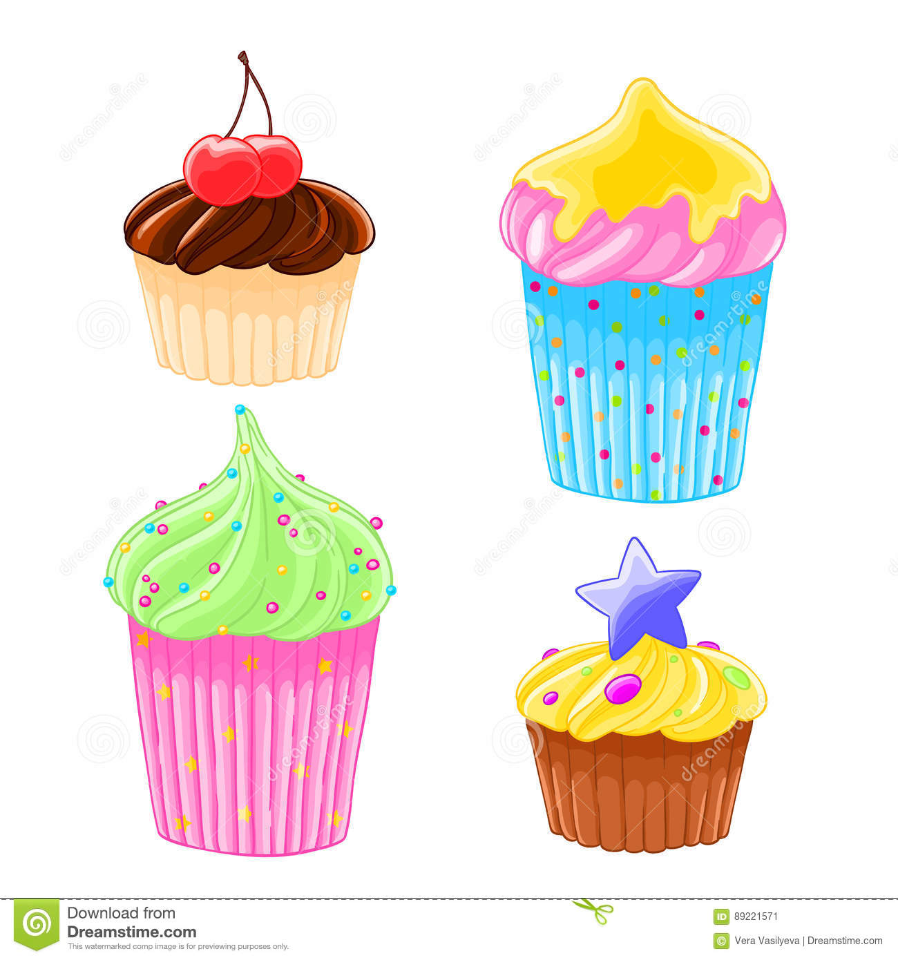 Set of four icons in cartoon style delicious muffins with frosting, chocolate and cherry.
