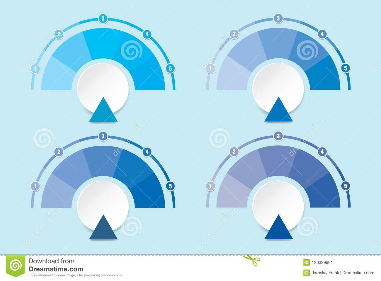 Set Of Four Infographic Diagrams In Shades Of Blue Color Stock