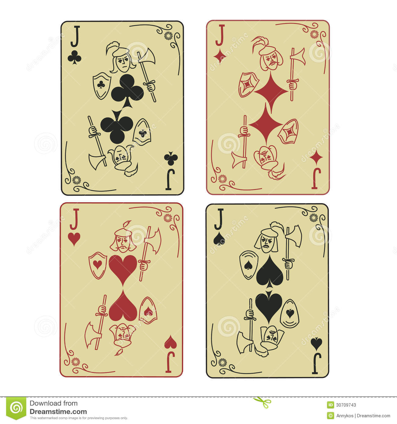 Set Of Four Jacks Playing Cards Stock Photos - Image: 30709743
