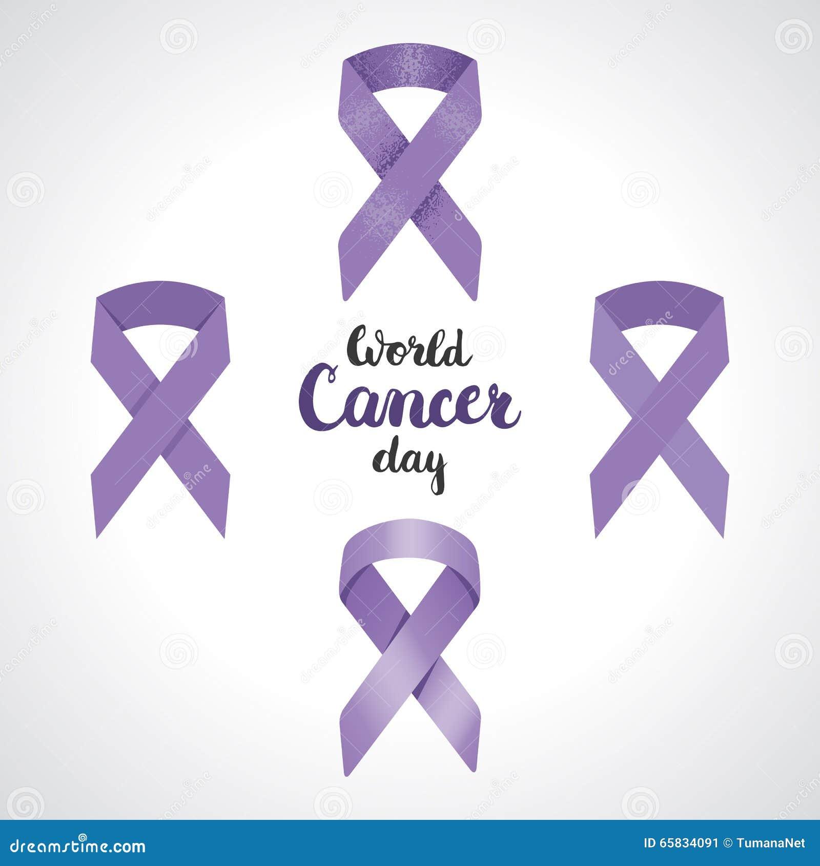 Set Of Four Lavender Awareness Ribbon Symbol Of 4th February World