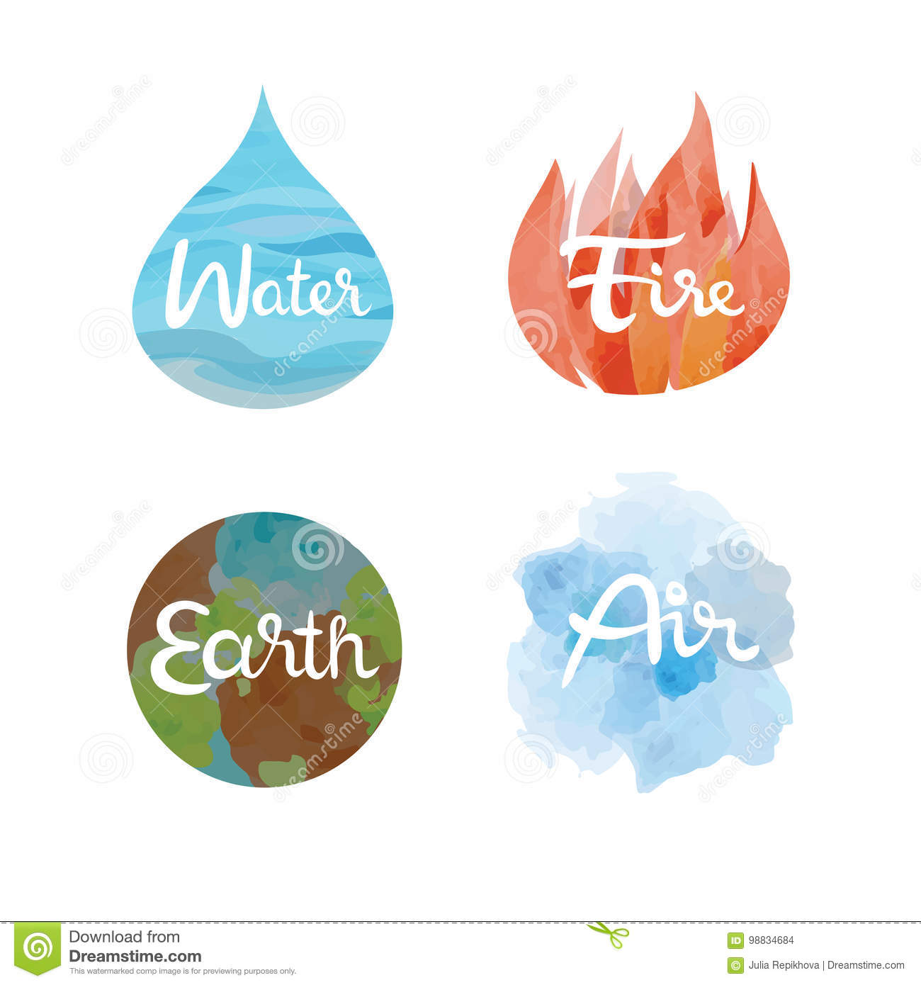 Set Of The Four Nature Elements Icons Water Fire Earth Air