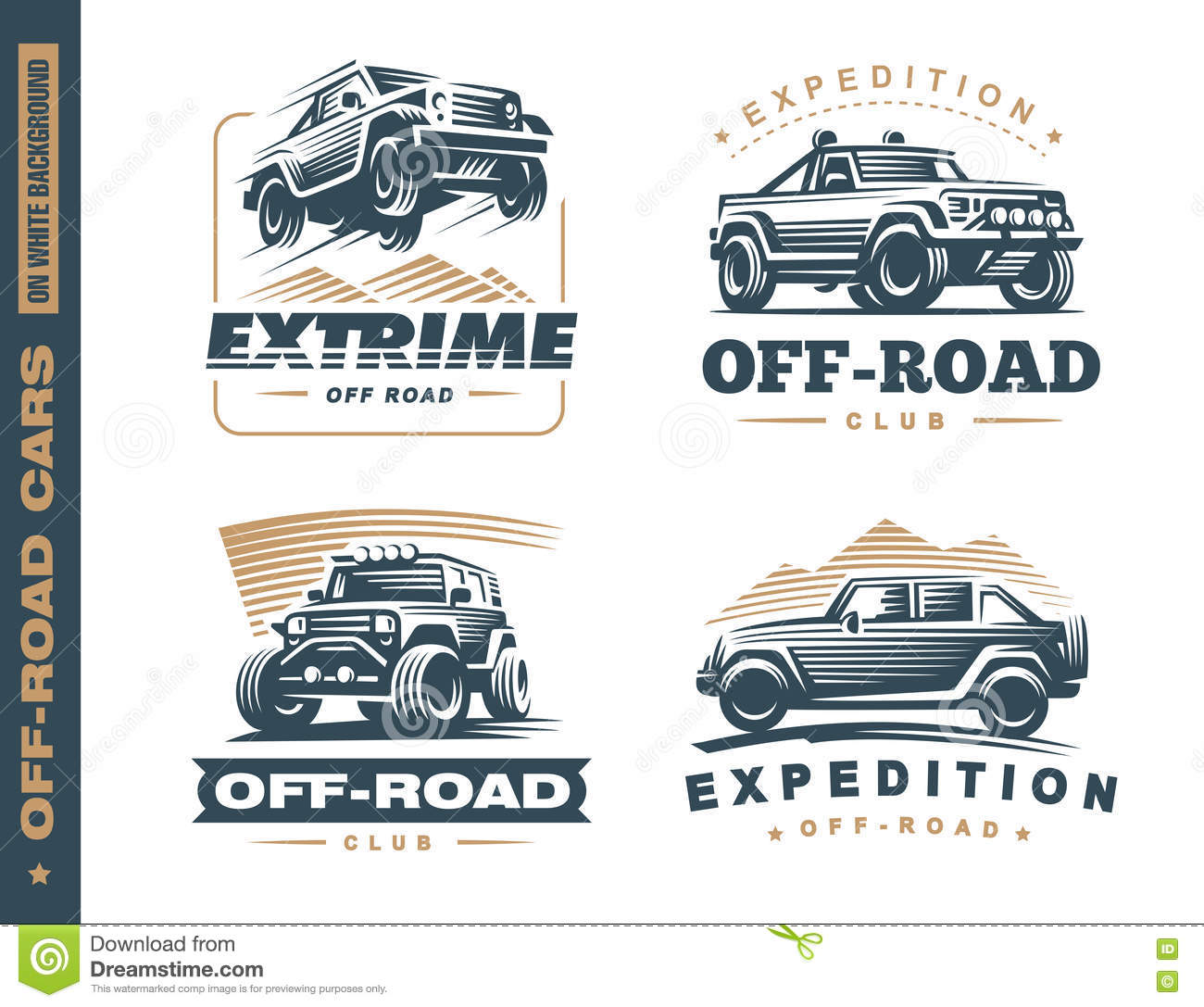 Set Of Four Off Road Suv Car Monochrome Labels Stock Vector