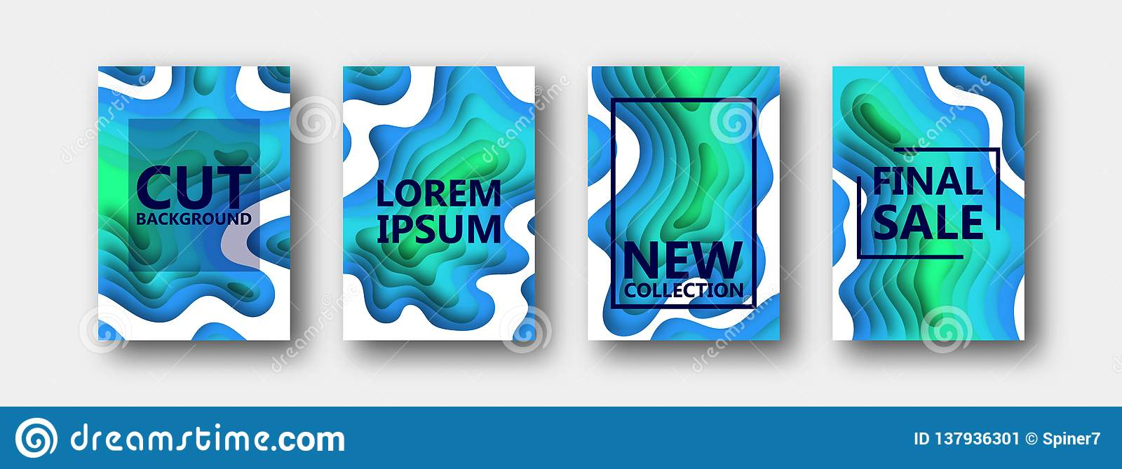 A set of four options for banners, flyers, brochures, cards, posters for your design, in blue-green tones.