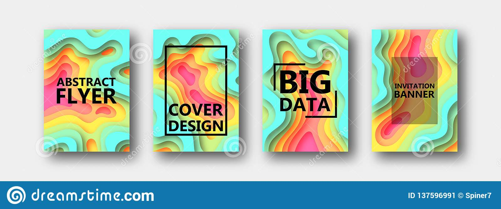 A set of four options for banners, flyers, brochures, cards, posters for your design, in multicolored tones.