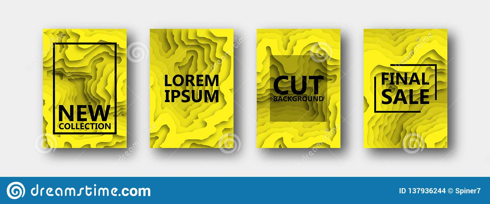 A set of four options for banners, flyers, brochures, cards, posters for your design, in yellow color.
