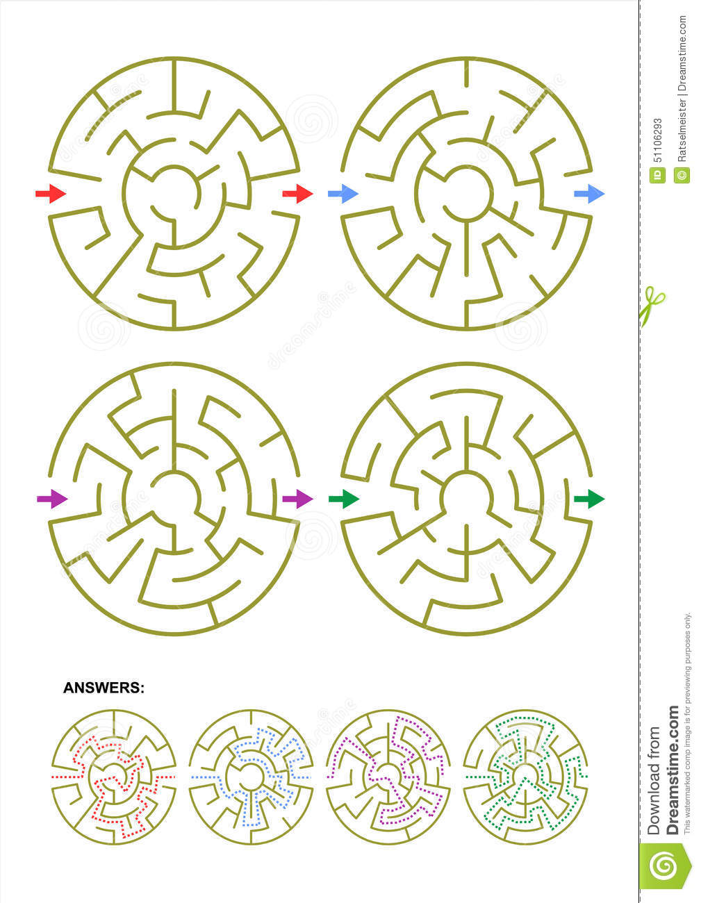 Set Of Four Round Maze Game Templates With Answers Stock