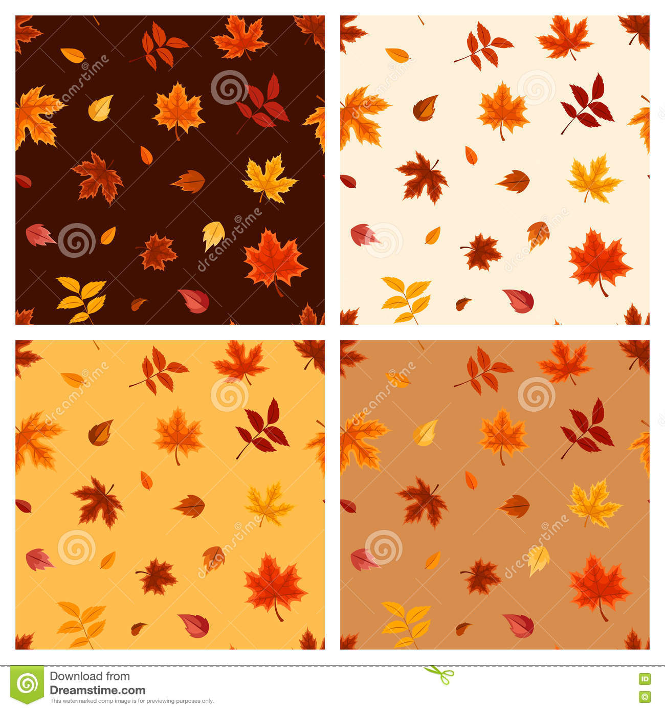 Set of four seamless patterns with autumn leaves. Vector illustration.