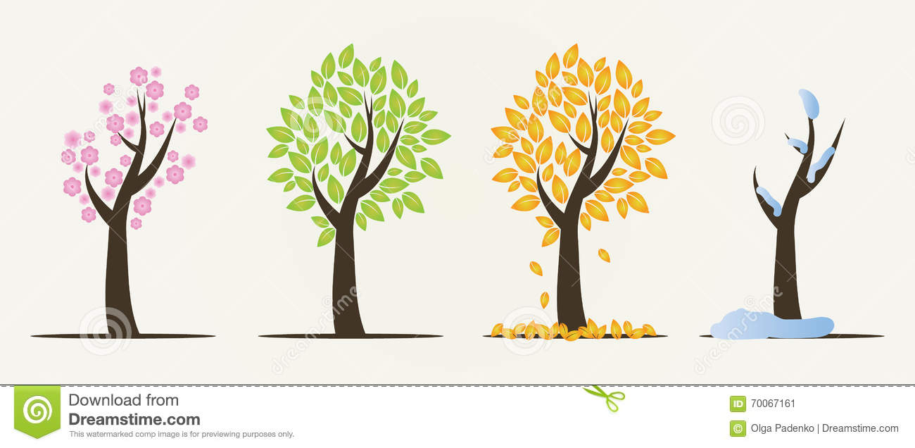 Set of four seasons trees stock illustration image of flower 70067161 - Autumn plowing time all set for winter ...