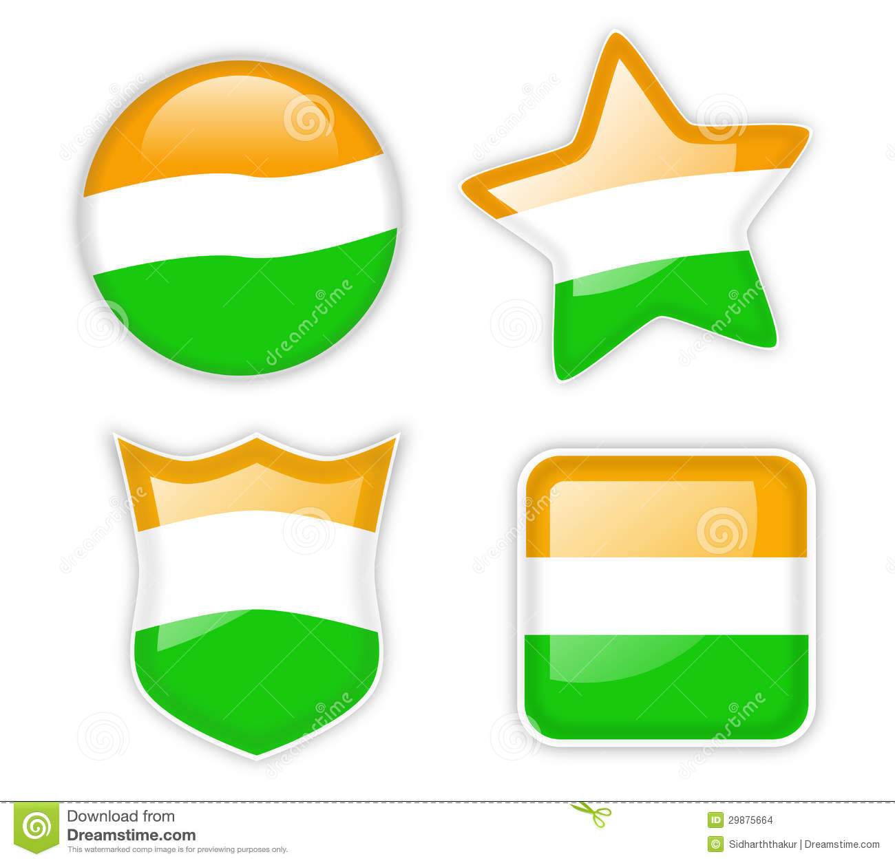Set of four shiny badges with tricolor scheme of the indian national