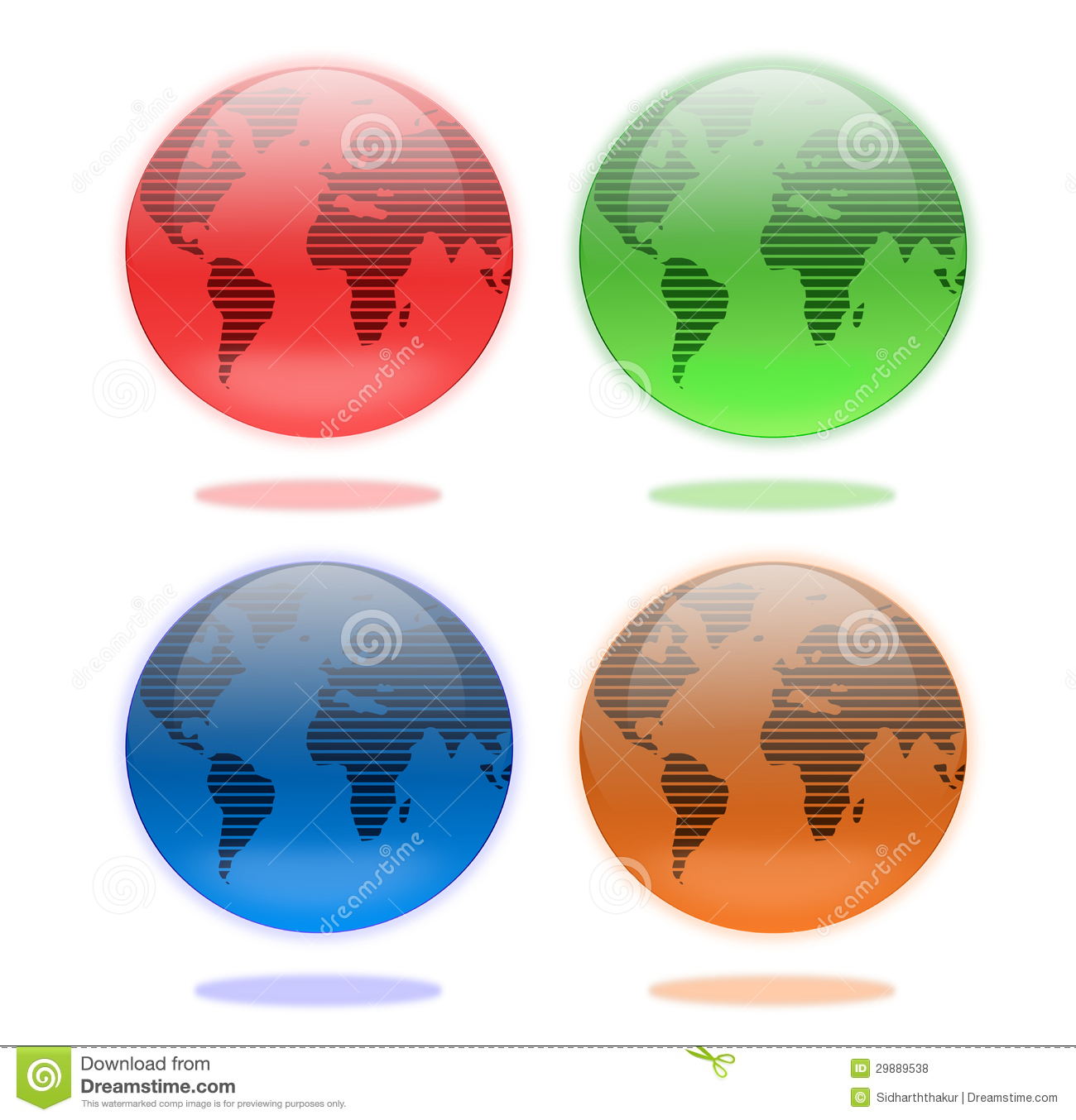 Brown And Blue Interior Color Schemes For An Earthy And: Set Of Earth Globes In Four Colors Royalty Free Stock