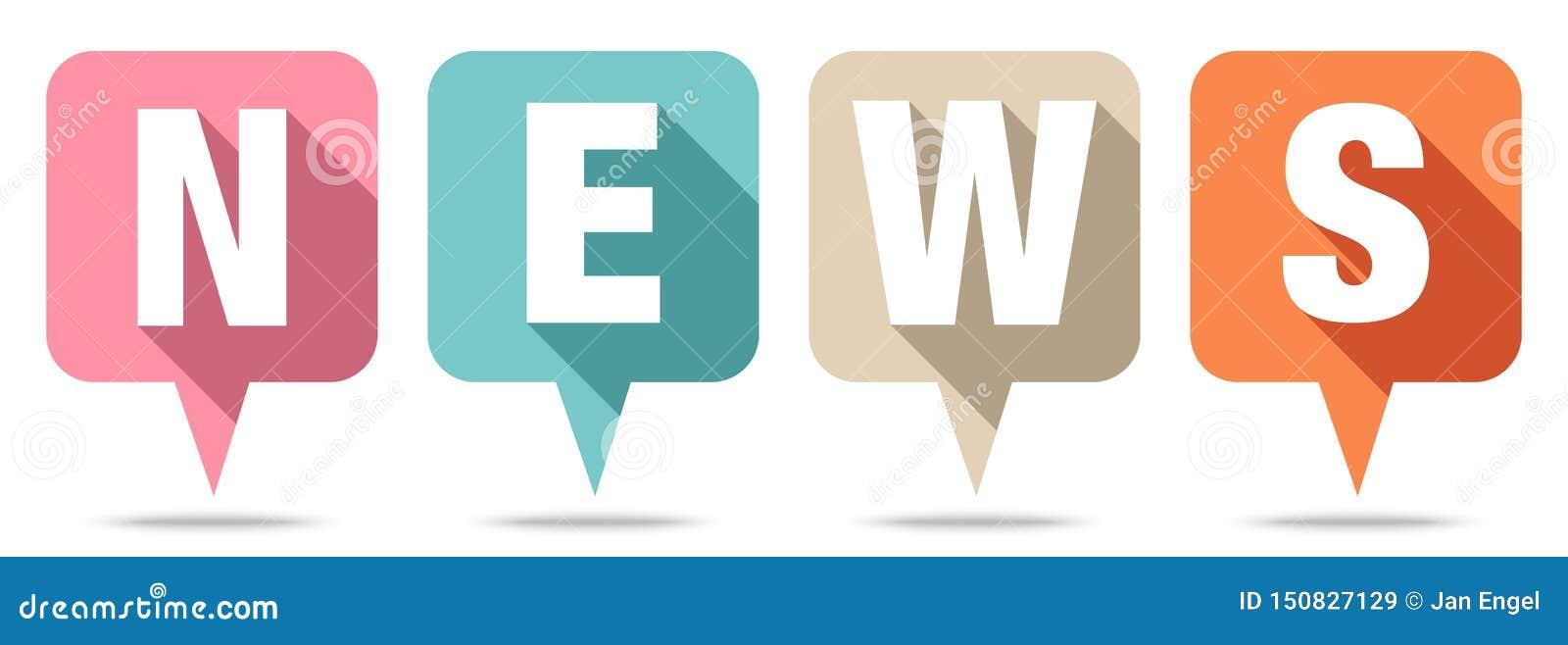 Set Of Four Speech Bubbles News Retro Colors