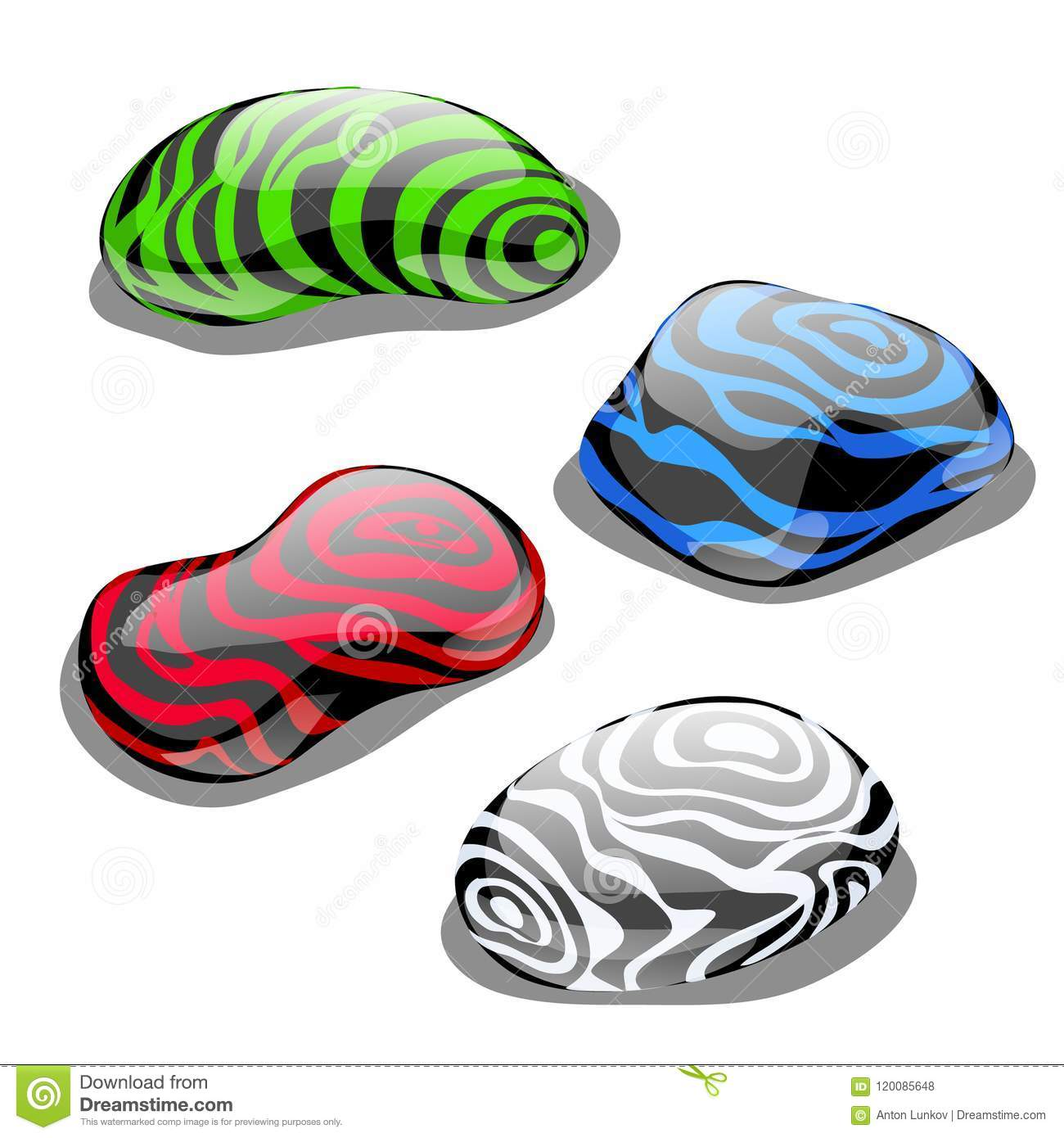 set of four stones with polished surface and color symbolizing the Mother Earth Elements set of four stones with polished surface and color symbolizing the element of water