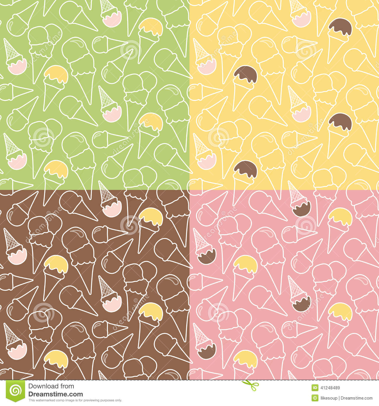 Pistachio Ice Cream Wallpapers High Quality: Set Of Four Summer Ice Cream Patterns On Different