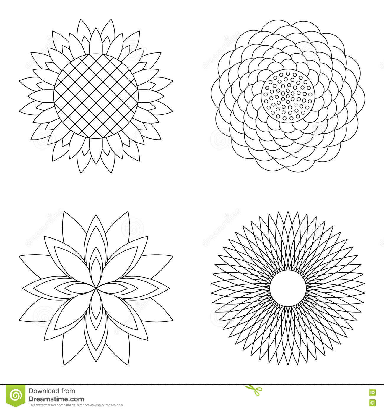 Set Of Four Vector Floral Simple Mandalas Rose Sunflower Lotus