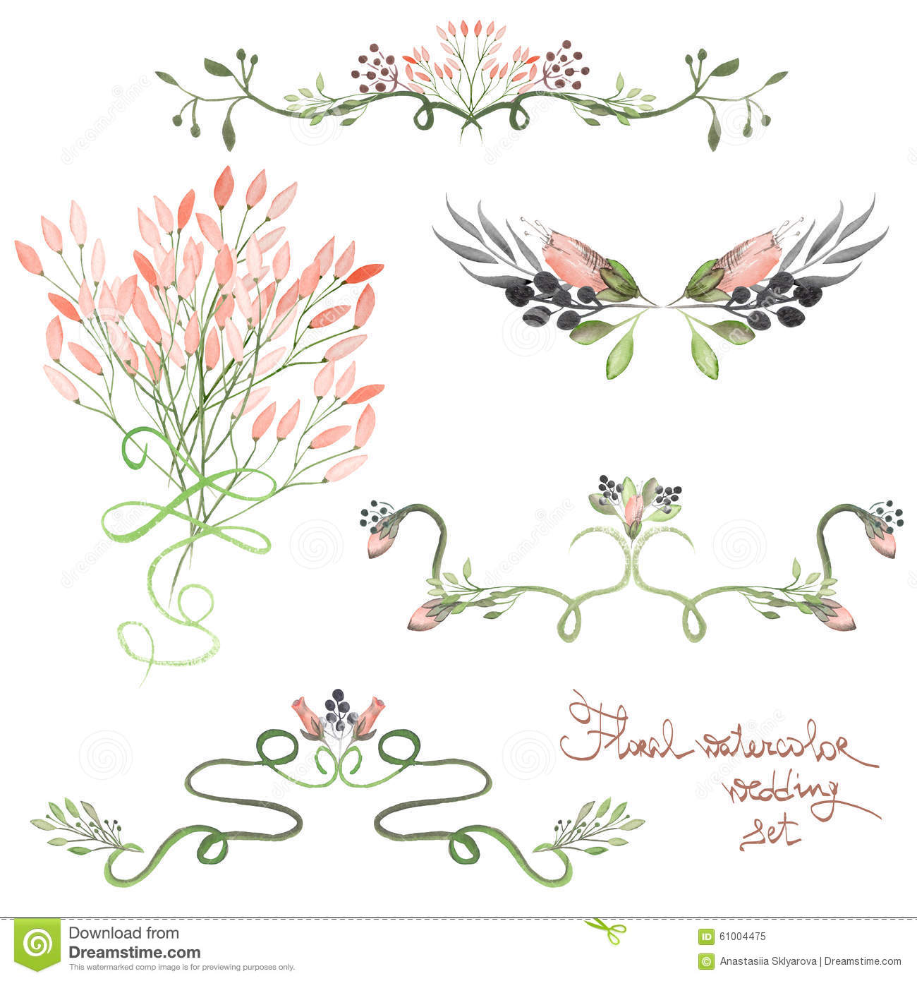 Wedding ornaments - Set With Frame Borders Floral Decorative Ornaments With Watercolor Flowers Leaves And Branches For