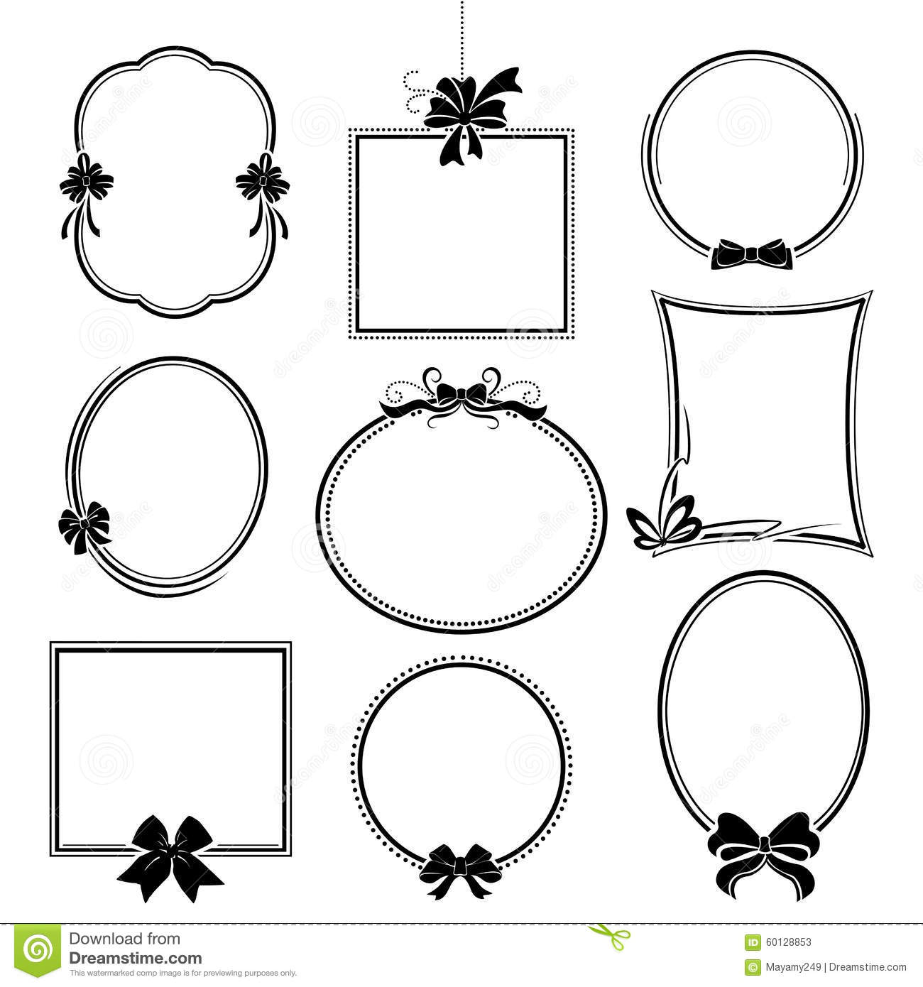 Set of frames with bows stock vector. Illustration of circle - 60128853