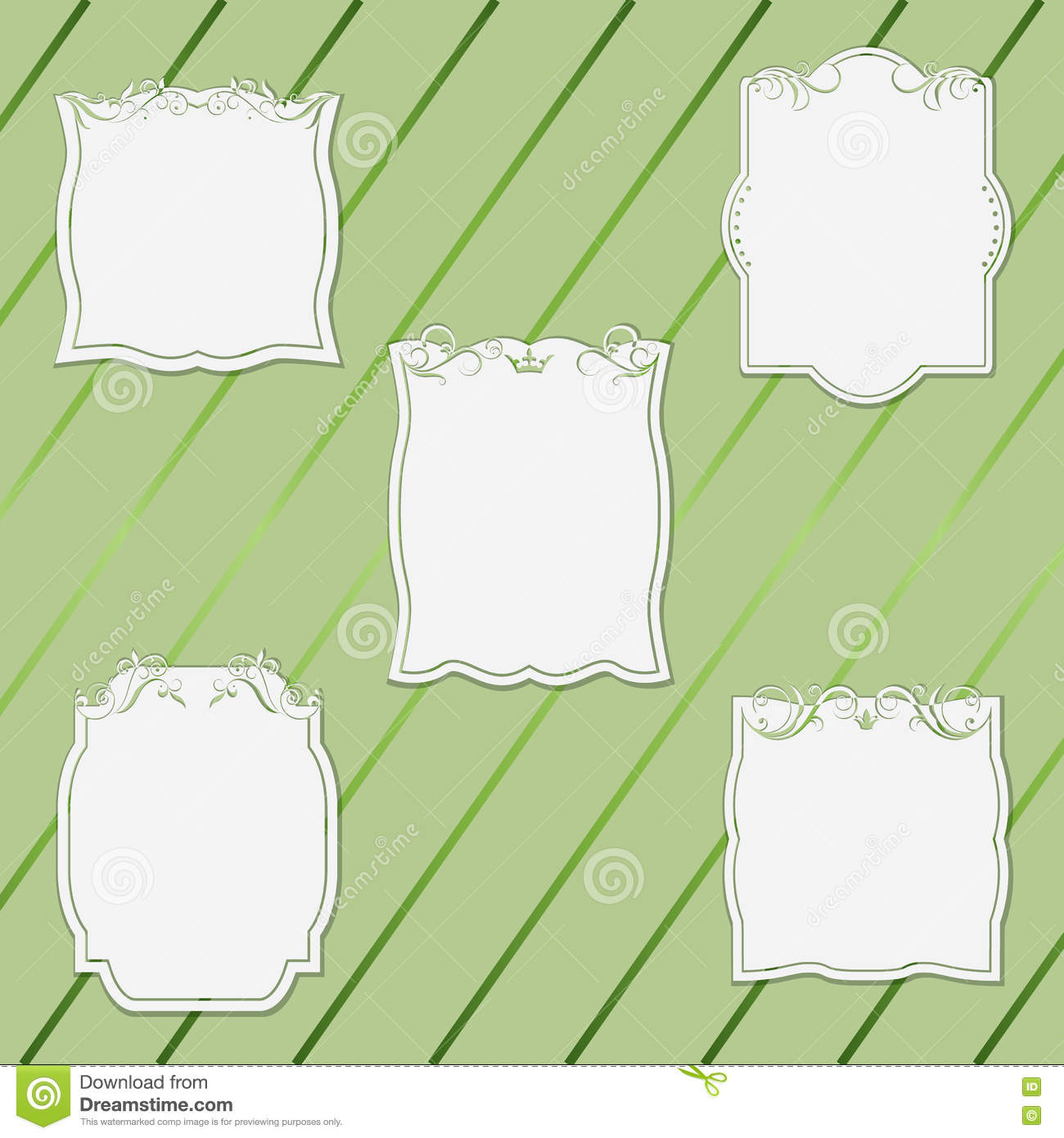 set frames with different shapes cut out decorative pattern stock