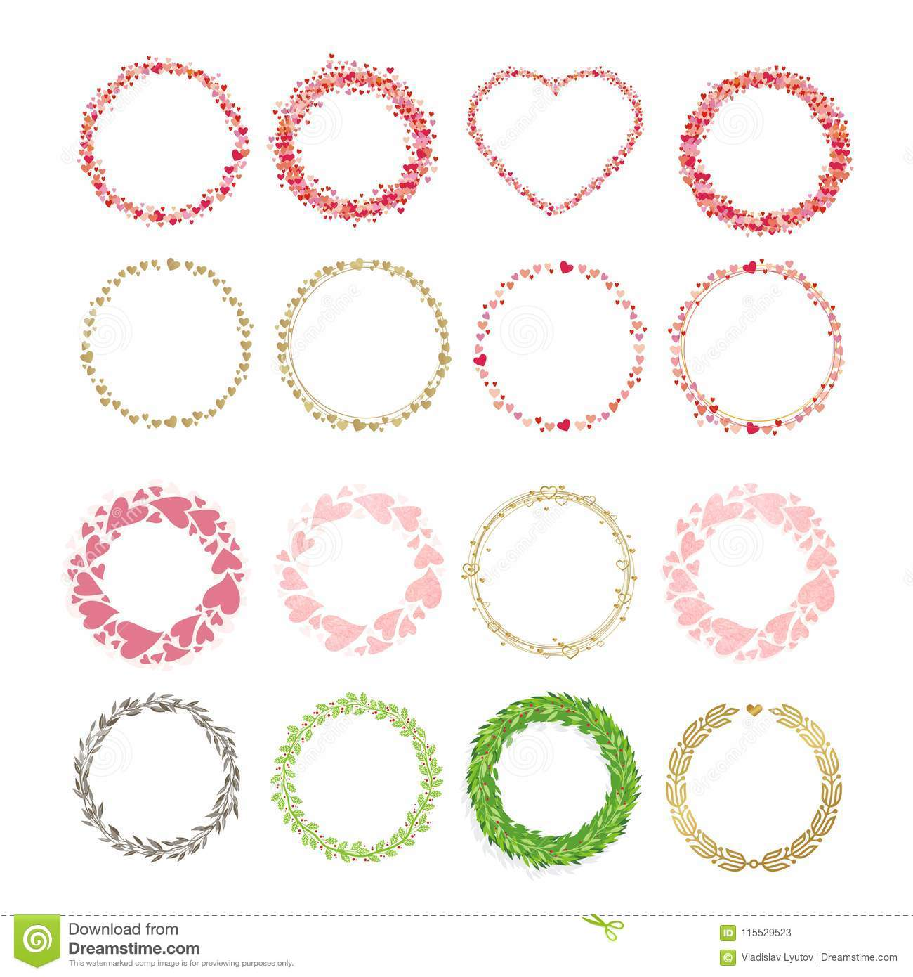 Set Of Frames Made From Hearts Collection Wreaths Hearts Stock