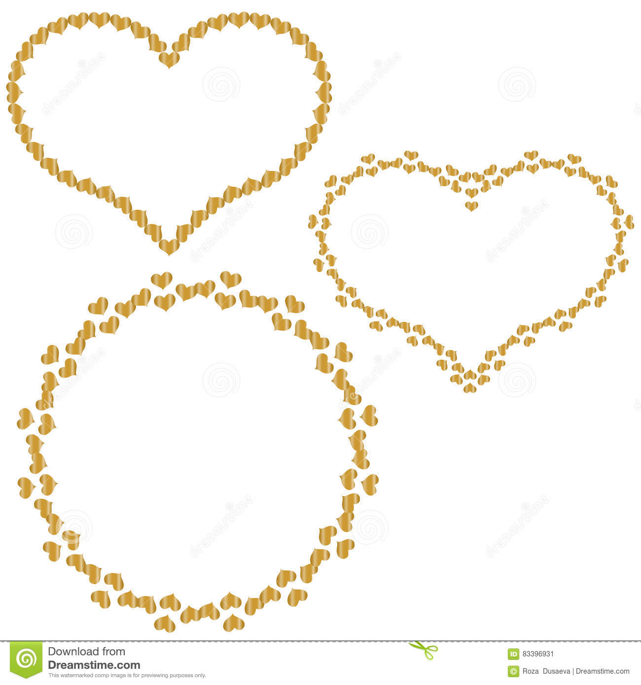 Set Of Frames In The Shape Of Heart Of Small Gold Hearts Stock ...