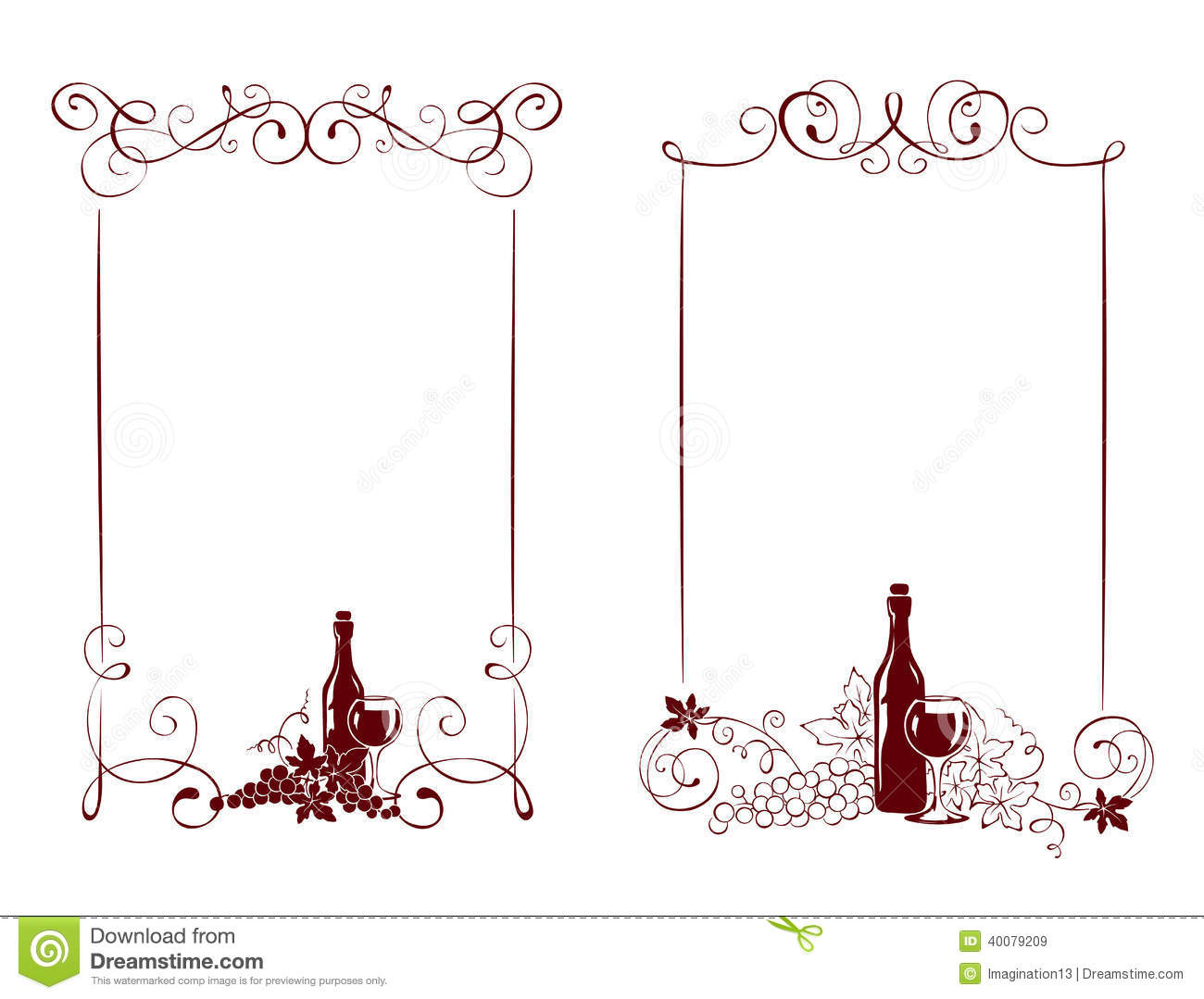 set of frames vine and a wine bottle royalty free stock images