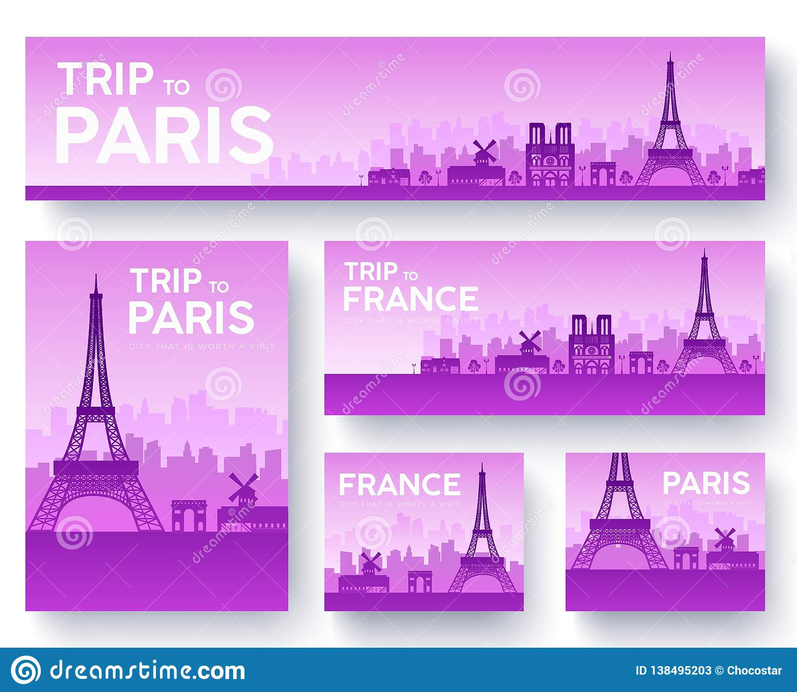 French Country Garden Design Layout: Set Of France Landscape Country Ornament Travel Tour