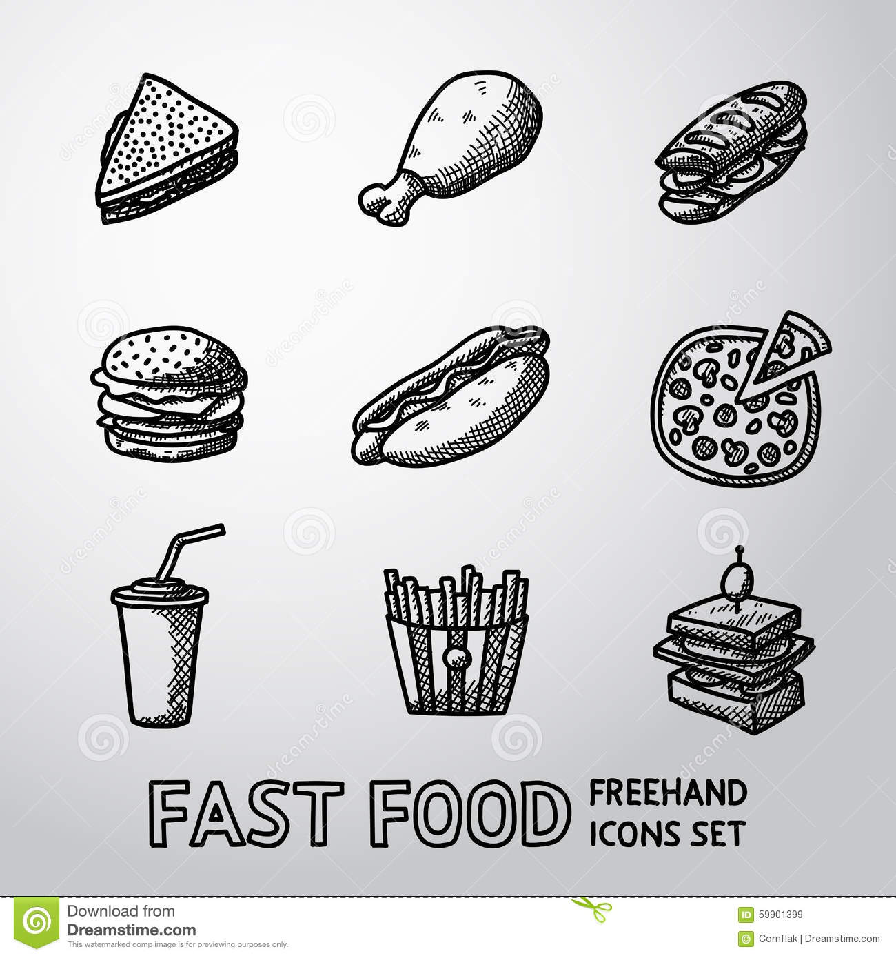 Set of freehand fast food icons sandwich stock vector for Canape vector download