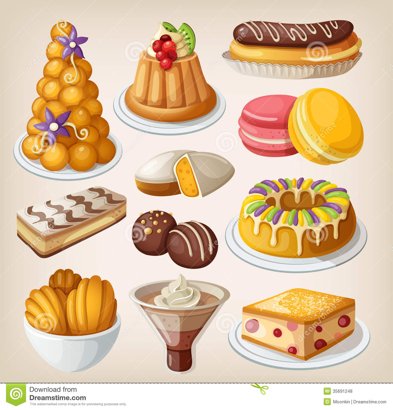 Set Of French Desserts Stock Vector Image Of Classic