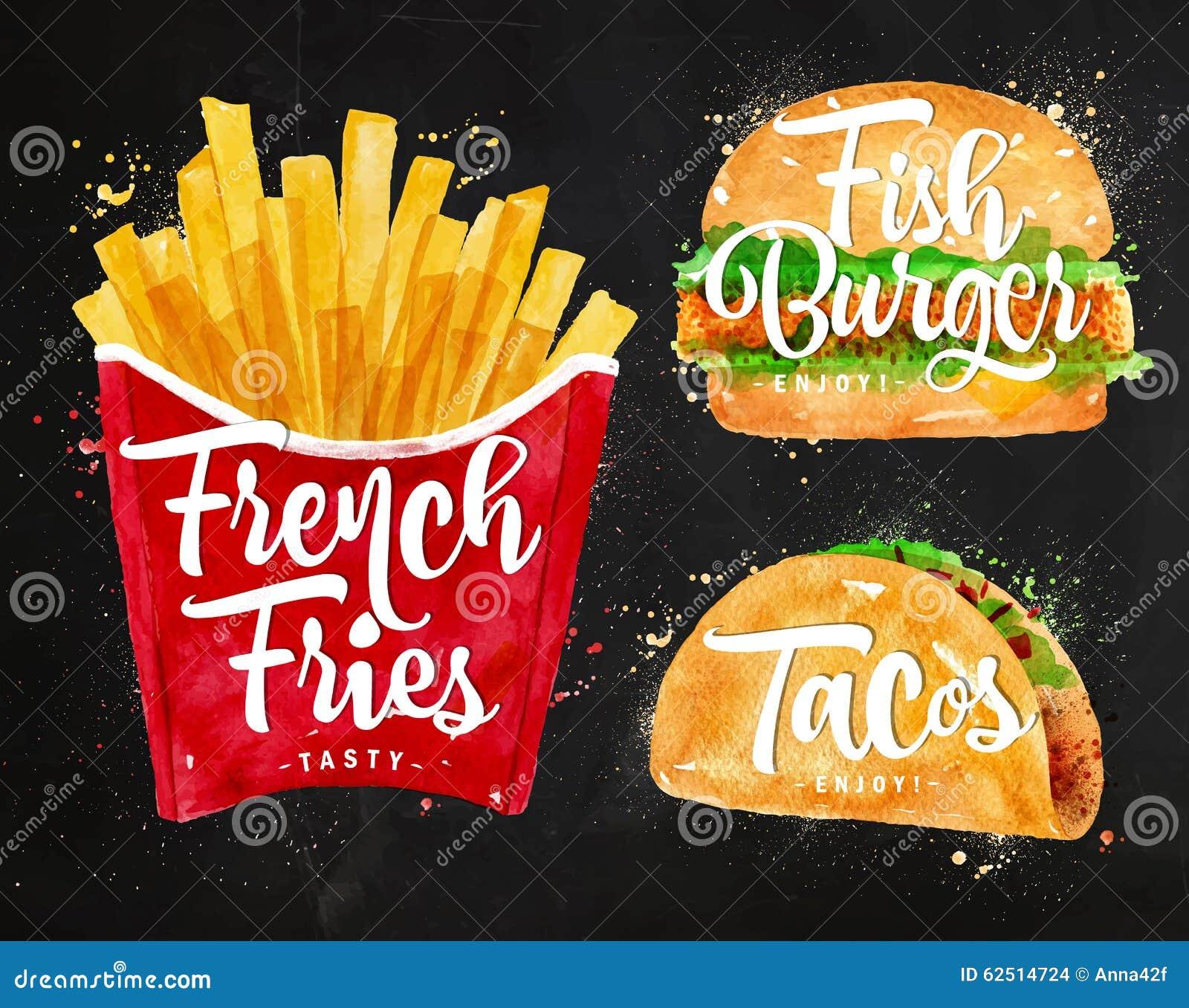Set French fries chalk stock vector. Illustration of dinner - 62514724