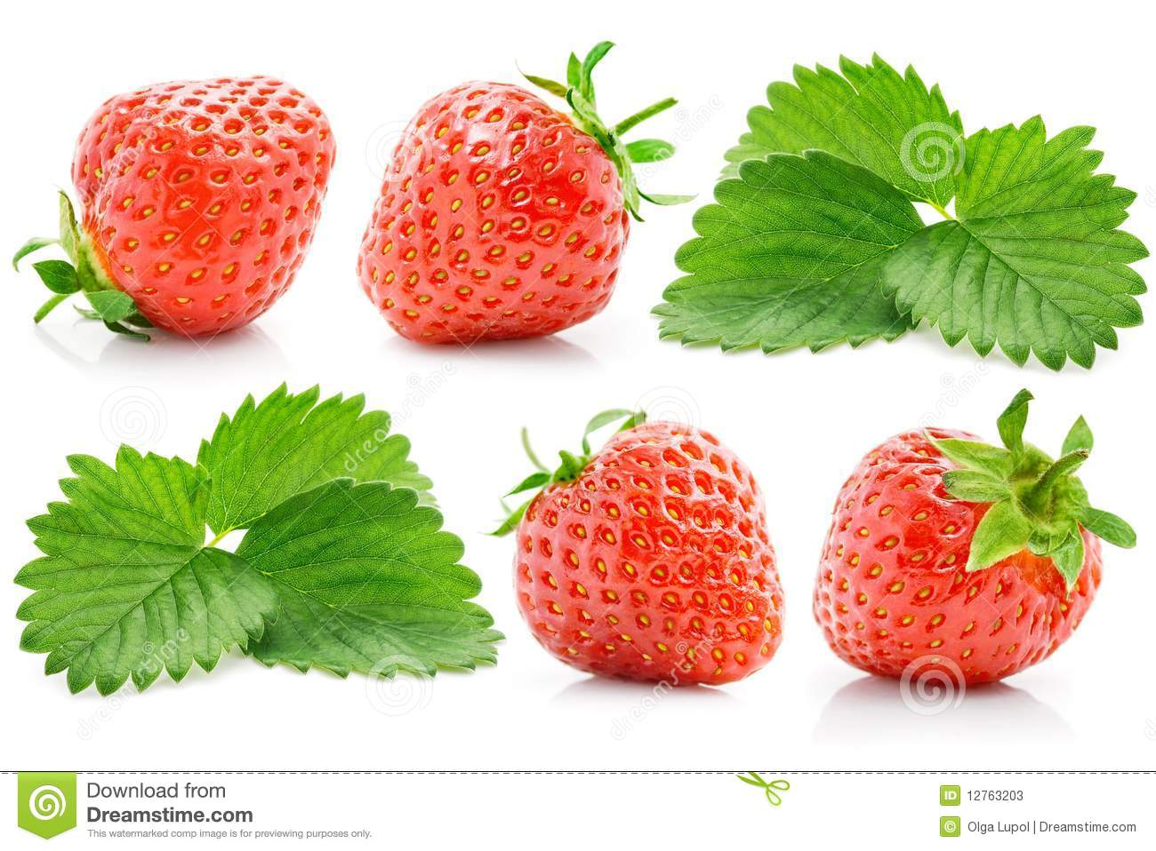 Set fresh red strawberry with green leaves