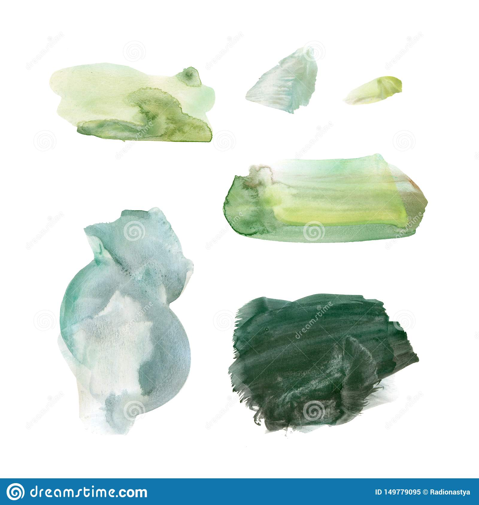 Set of fresh green hand drawn watercolor stains