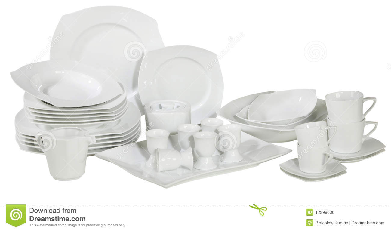 set of fresh washed plates and dishes royalty free stock